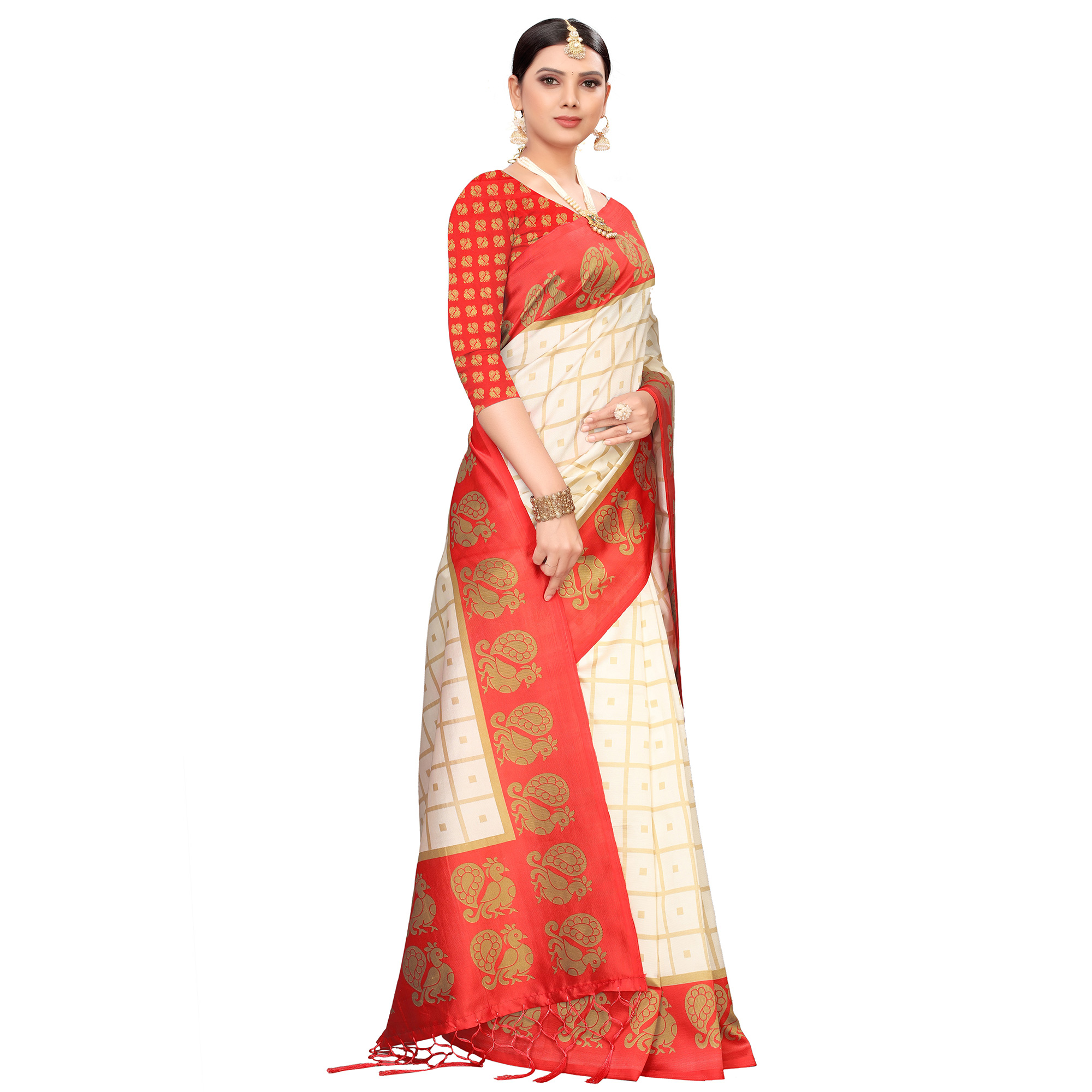 Flamboyant Off White-Red Colored Festive Wear Printed Mysore Silk Saree