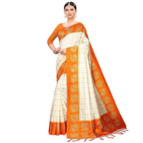 Pretty Off White-Orange Colored Festive Wear Printed Mysore Silk Saree