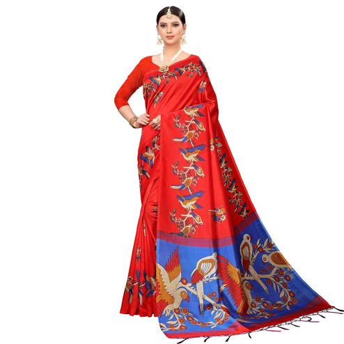 Alluring Red Colored Festive Wear Printed Mysore Silk Saree