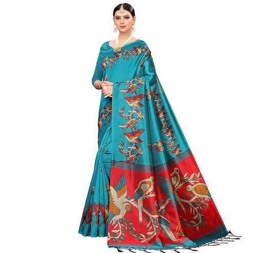Sensational Turquoise Blue Colored Festive Wear Printed Mysore Silk Saree