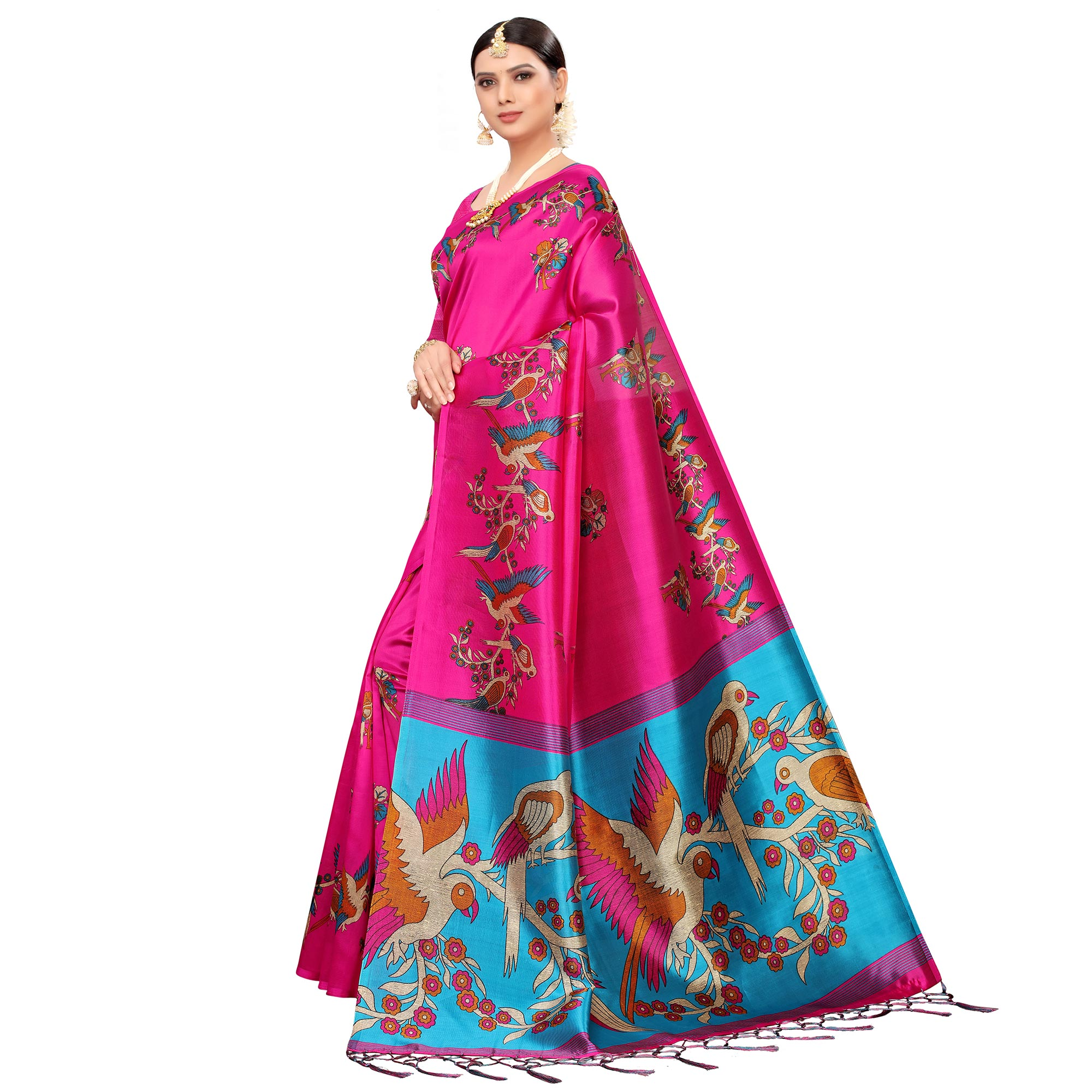 Flaunt Rani Pink Colored Festive Wear Printed Mysore Silk Saree
