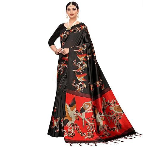 Flirty Black Colored Festive Wear Printed Mysore Silk Saree