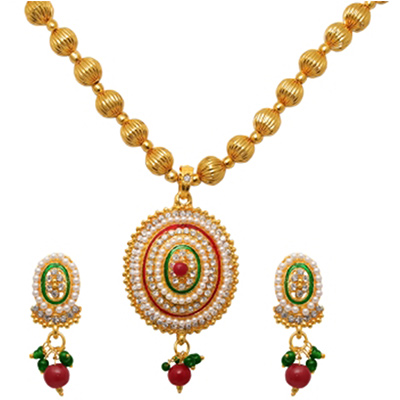 Austrian Stone Red & Green Meenakari Pearl Gold Plated Necklace Set