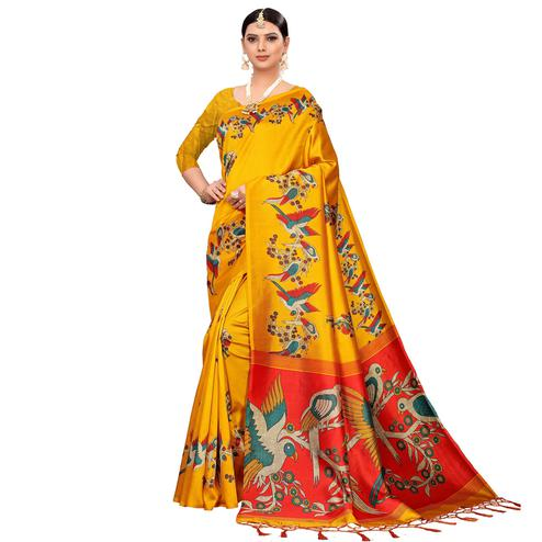Adorable Yellow Colored Festive Wear Printed Mysore Silk Saree