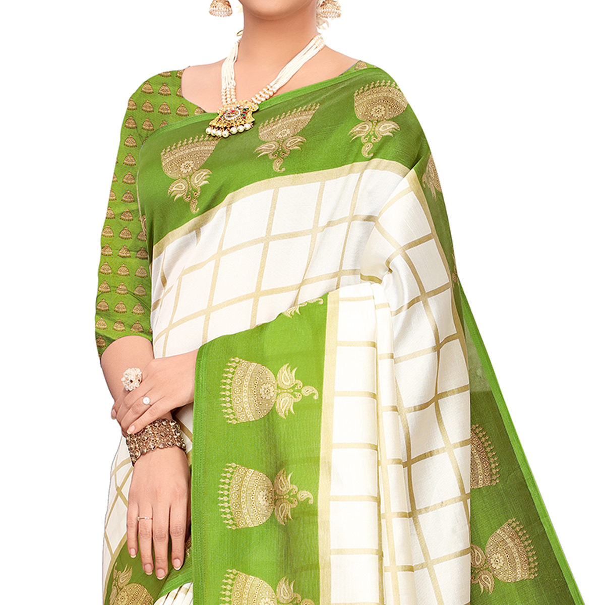 Attractive Off White-Green Colored Festive Wear Printed Mysore Silk Saree