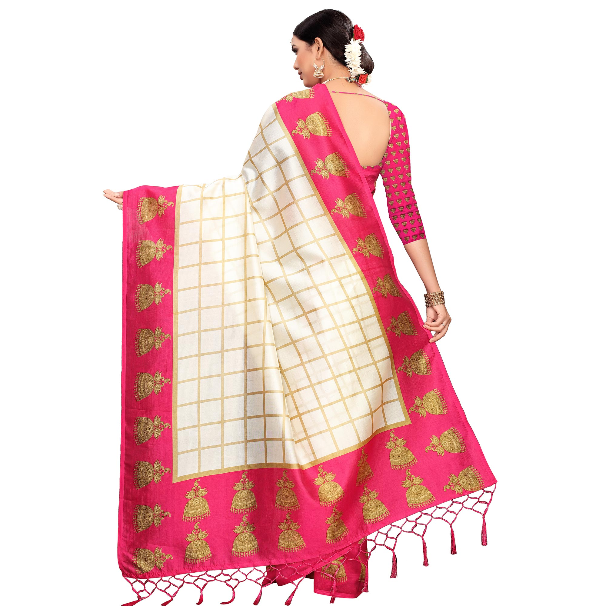 Beautiful Off White-Pink Colored Festive Wear Printed Mysore Silk Saree
