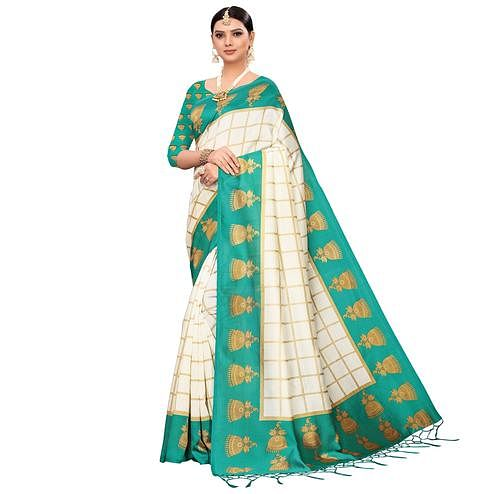 Graceful Off White-Turquoise Green Colored Festive Wear Printed Mysore Silk Saree