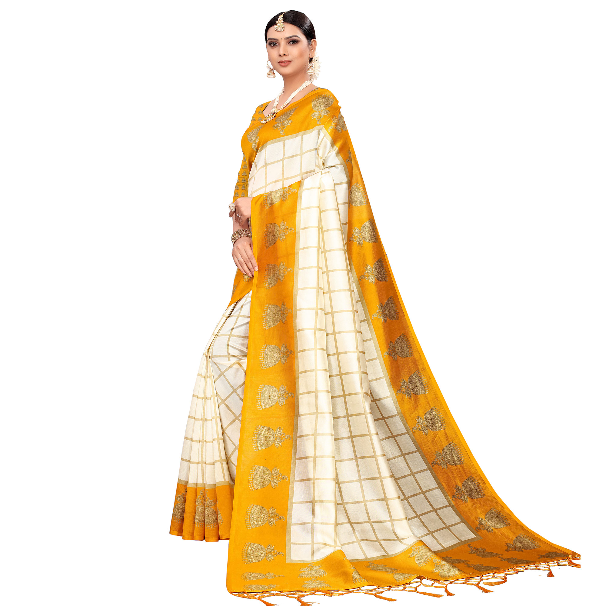 Blooming Off White-Yellow Colored Festive Wear Printed Mysore Silk Saree