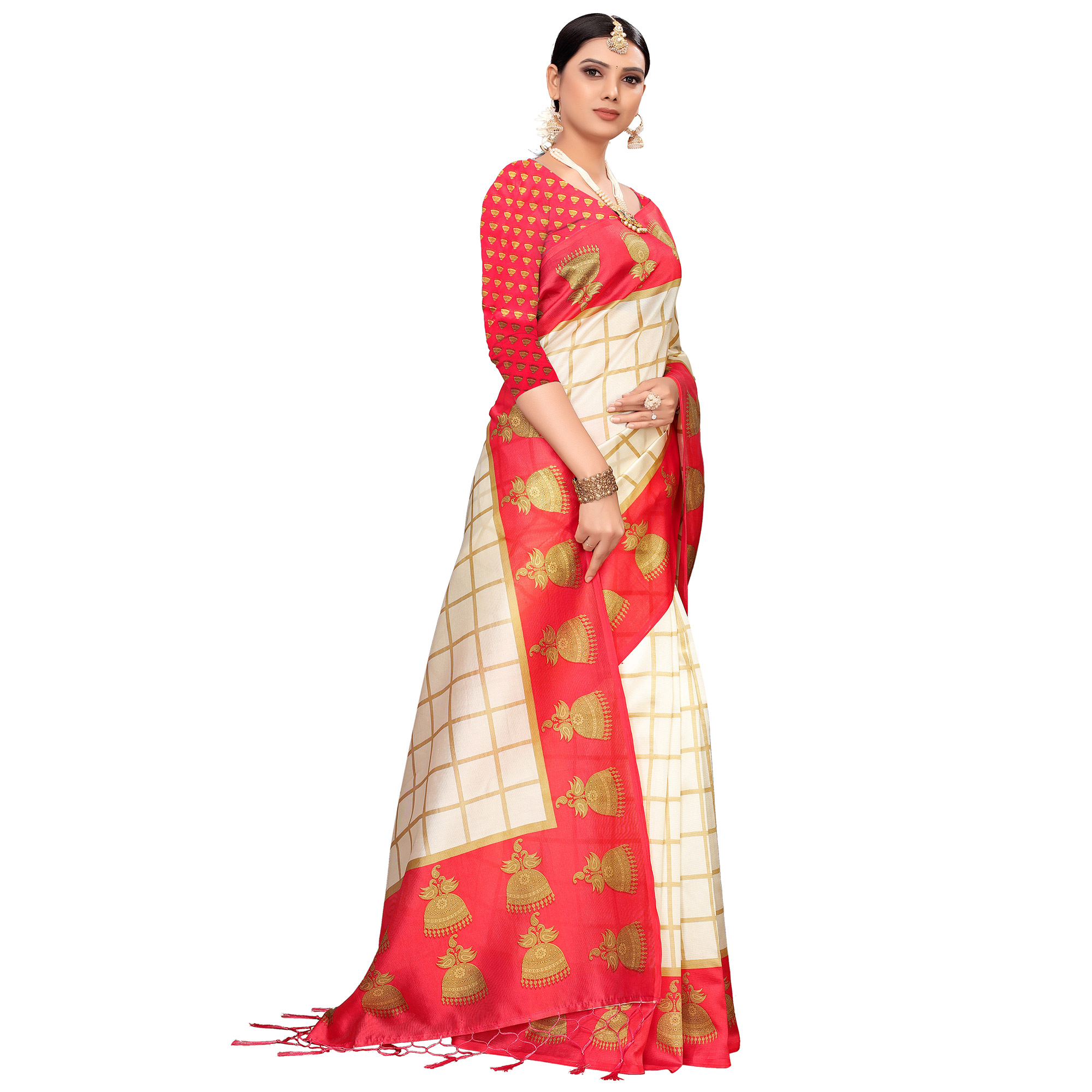 Charming Off White-Red Colored Festive Wear Printed Mysore Silk Saree