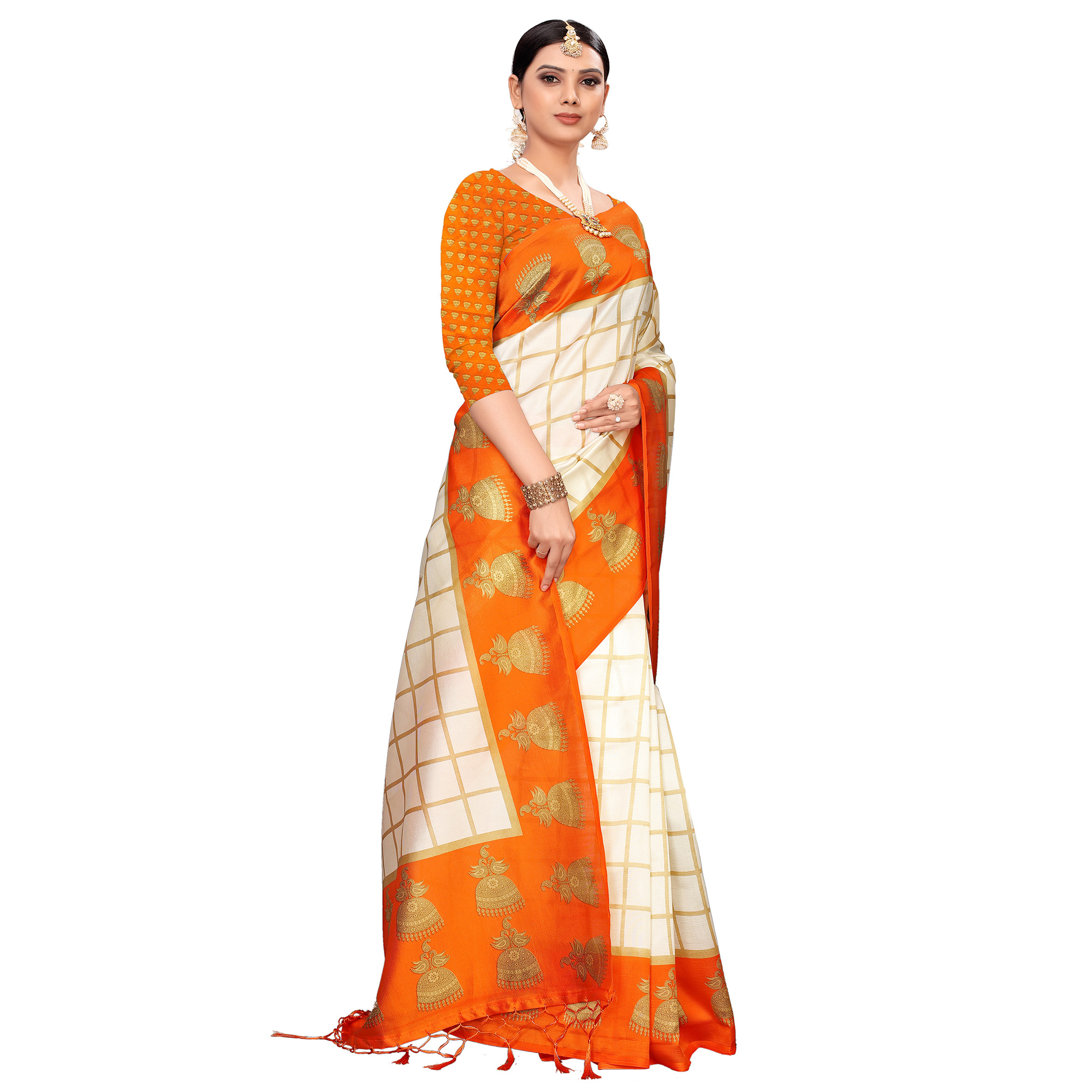 Jazzy Off White-Orange Colored Festive Wear Printed Mysore Silk Saree