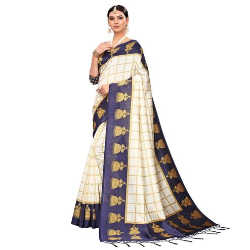 Delightful Off White-Navy Blue Colored Festive Wear Printed Mysore Silk Saree