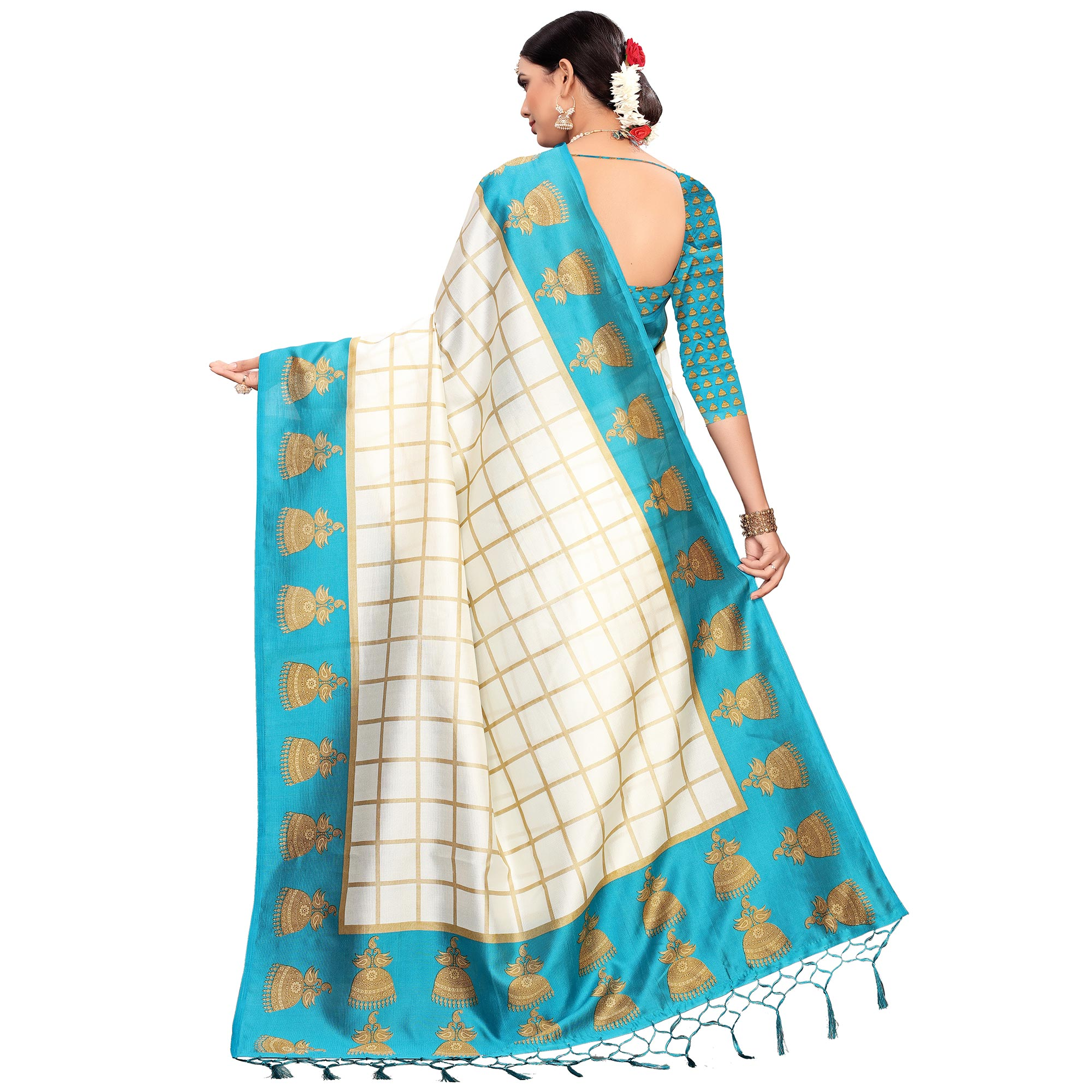 Engrossing Off White-Turquoise Blue Colored Festive Wear Printed Mysore Silk Saree
