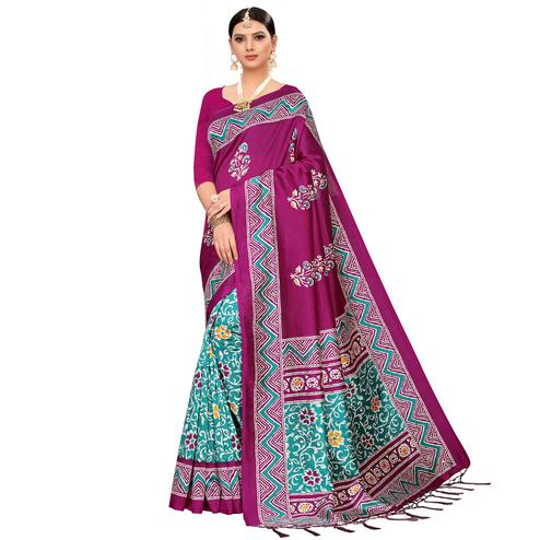 Captivating Turquoise Green-Purple Colored Festive Wear Printed Mysore Silk Saree