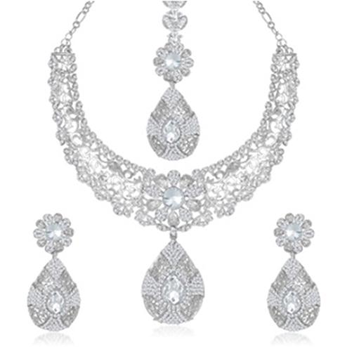 Austrian Stone Rhodium Plated Necklace Set With Maang Tikka