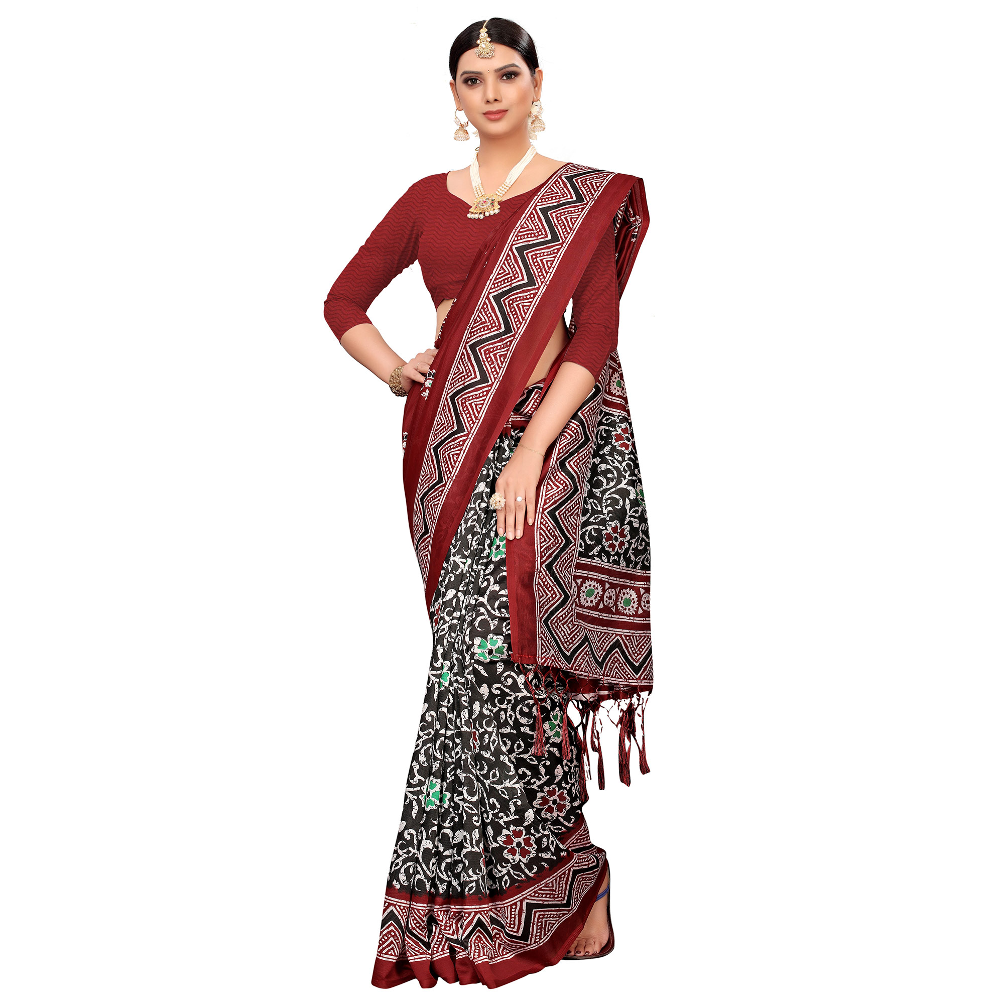 Innovative Black-Maroon Colored Festive Wear Printed Mysore Silk Saree