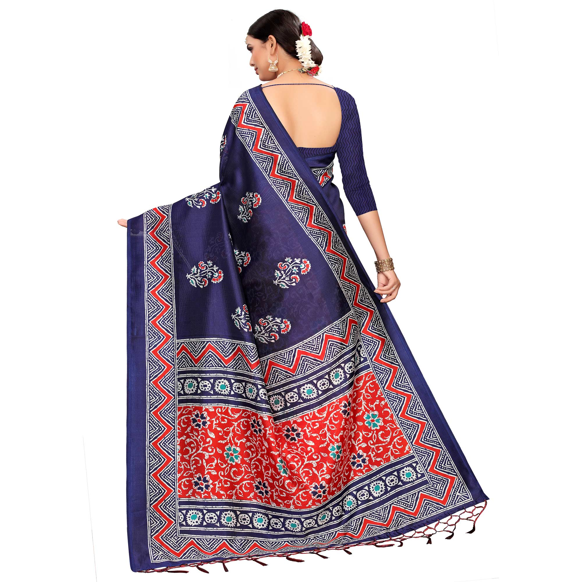 Eye-catching Red-Navy Blue Colored Festive Wear Printed Mysore Silk Saree