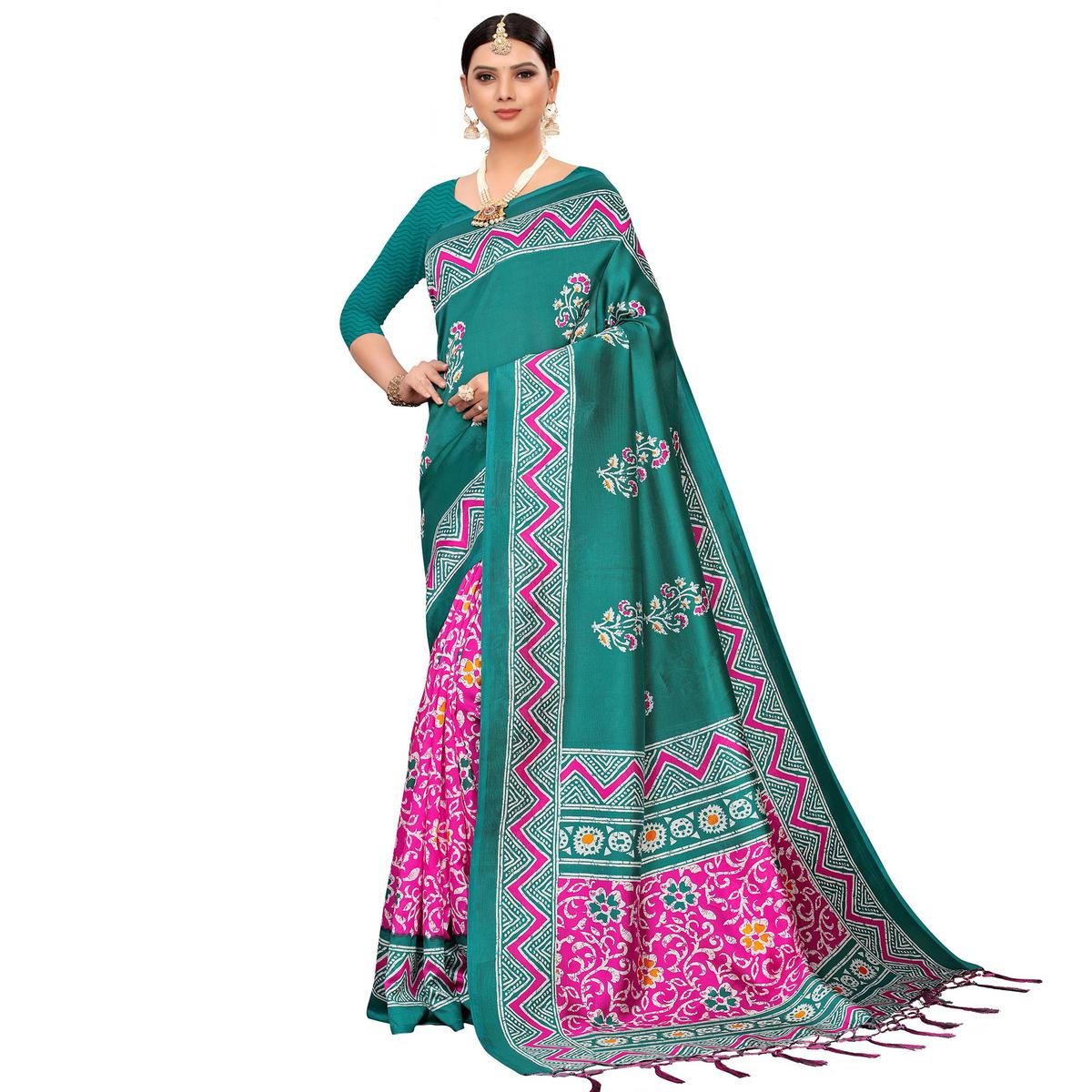 Fantastic Pink-Turquoise Green Colored Festive Wear Printed Mysore Silk Saree