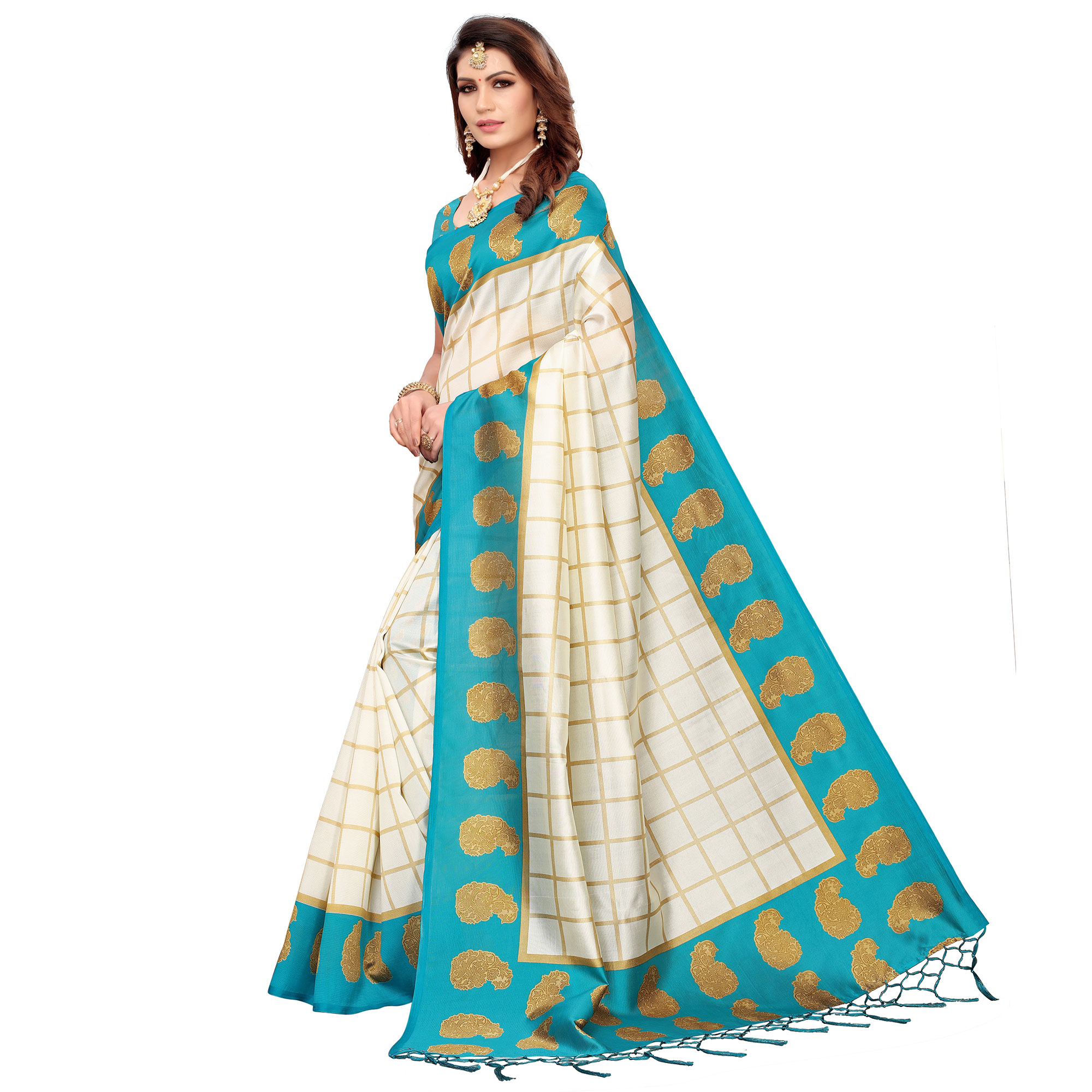Amazing Off White-Turquoise Blue Colored Festive Wear Printed Mysore Silk Saree