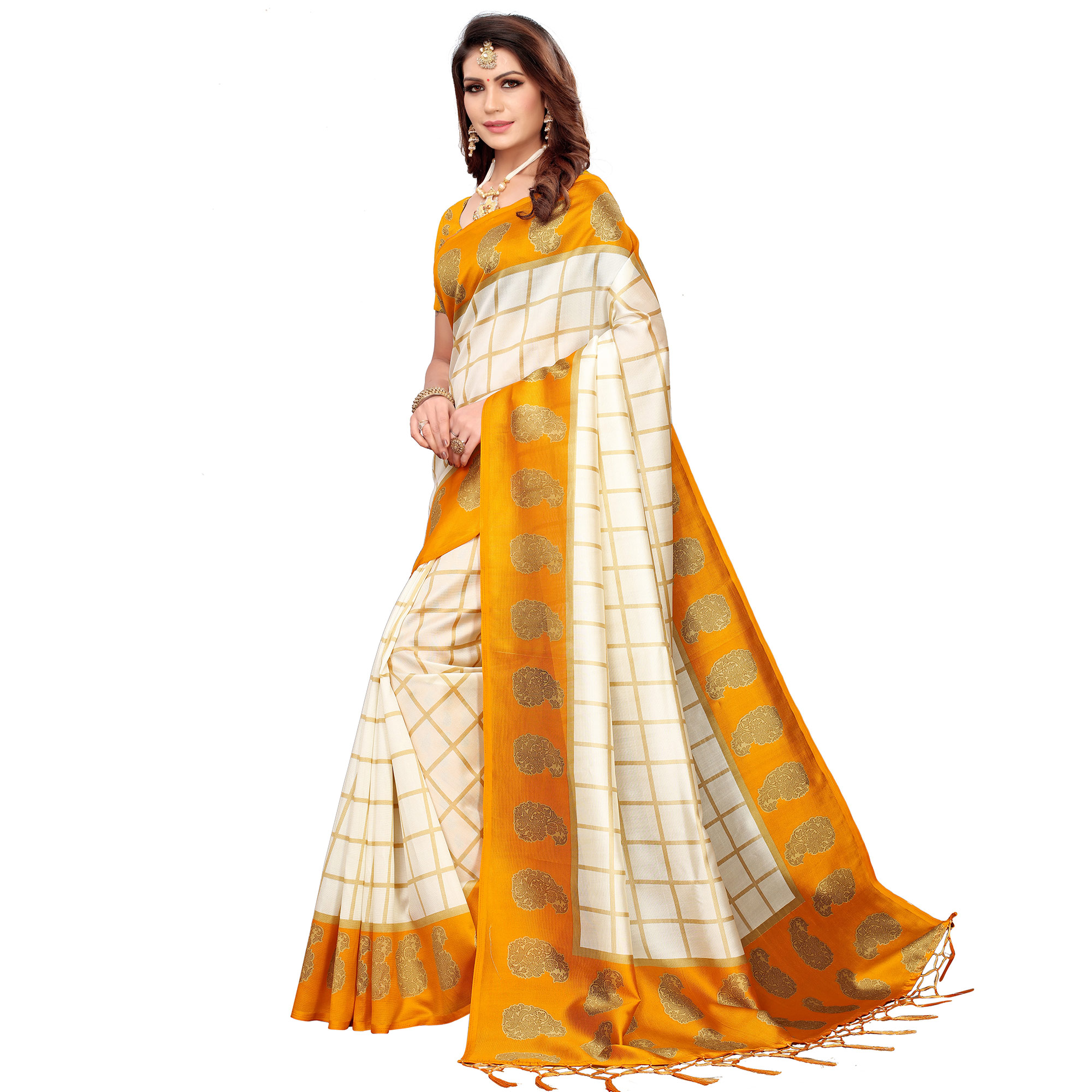 Gorgeous Off White-Yellow Colored Festive Wear Printed Mysore Silk Saree