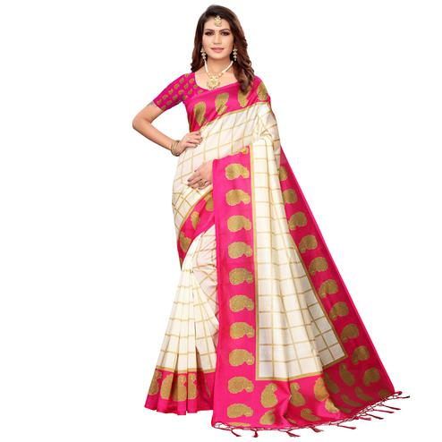Blissful Off White-Pink Colored Festive Wear Printed Mysore Silk Saree