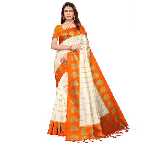 Ideal Off White-Orange Colored Festive Wear Printed Mysore Silk Saree