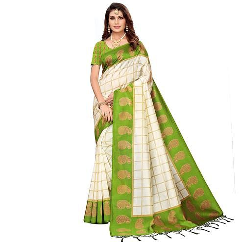 Imposing Off White-Green Colored Festive Wear Printed Mysore Silk Saree