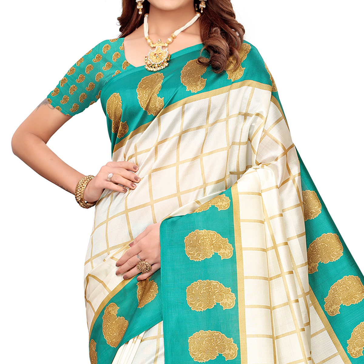 Lovely Off White-Turquoise Green Colored Festive Wear Printed Mysore Silk Saree