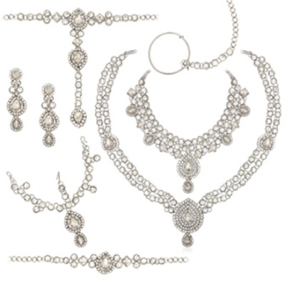 Pearl Austrian Stone 7 Pcs Bridal Rhodium Plated Necklace Sets
