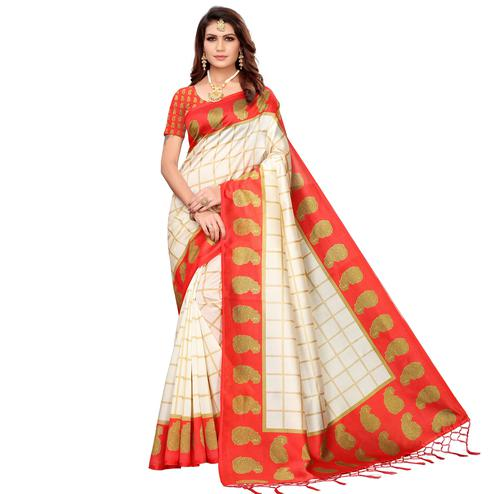 Majesty Off White-Red Colored Festive Wear Printed Mysore Silk Saree