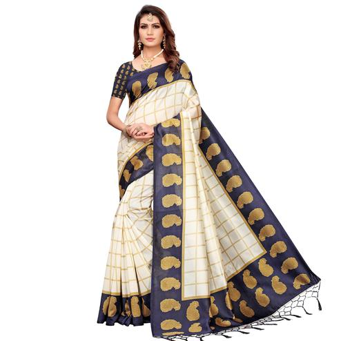 Impressive Off White-Navy Blue Colored Festive Wear Printed Mysore Silk Saree