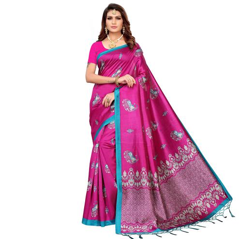 Mesmerising Pink Colored Festive Wear Printed Mysore Silk Saree