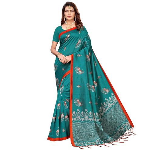 Pleasance Turquoise Green Colored Festive Wear Printed Mysore Silk Saree