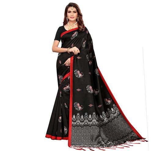 Breathtaking Black Colored Festive Wear Printed Mysore Silk Saree