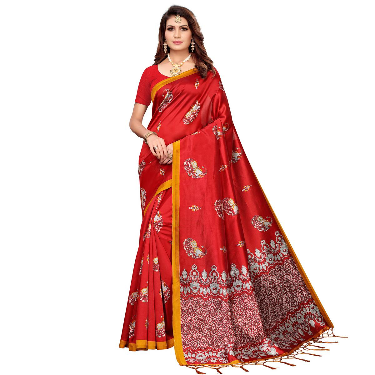 Ethnic Red Colored Festive Wear Printed Mysore Silk Saree