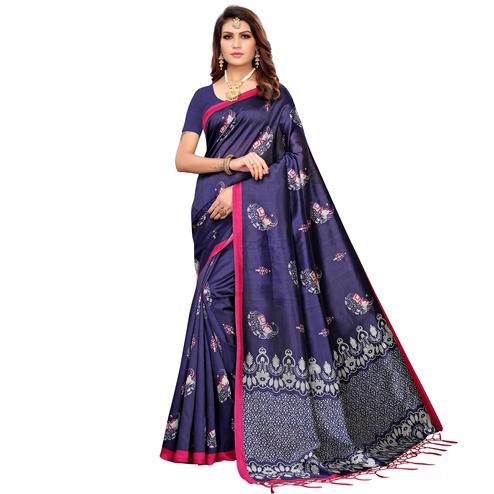 Ravishing Navy Blue Colored Festive Wear Printed Mysore Silk Saree