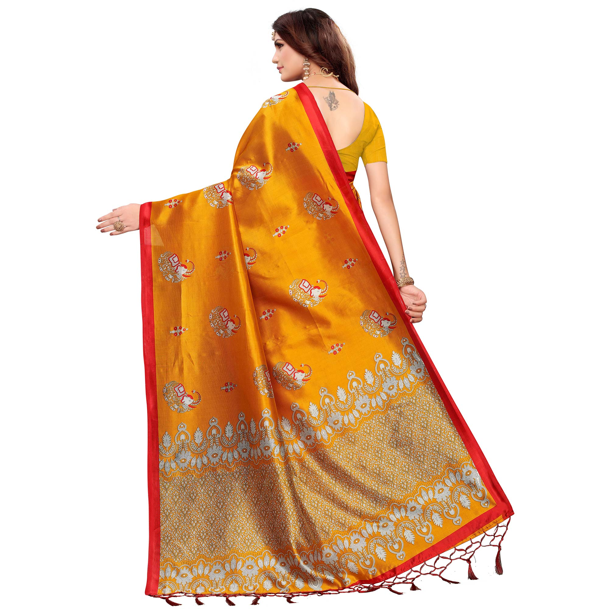 Staring Yellow Colored Festive Wear Printed Mysore Silk Saree