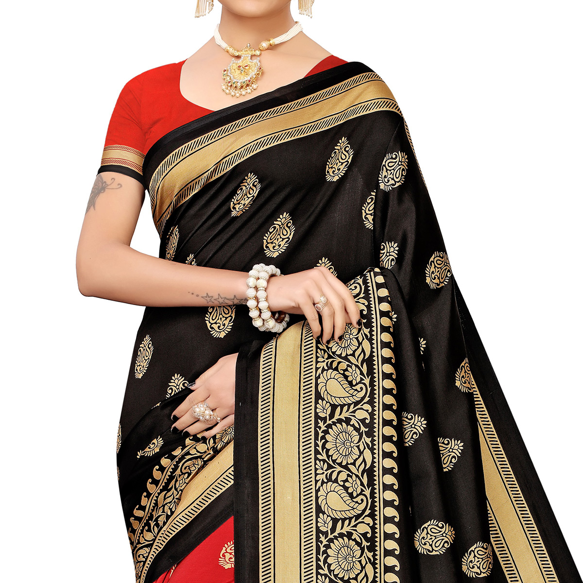 Imposing Red-Black Colored Festive Wear Banarasi Art Silk Saree