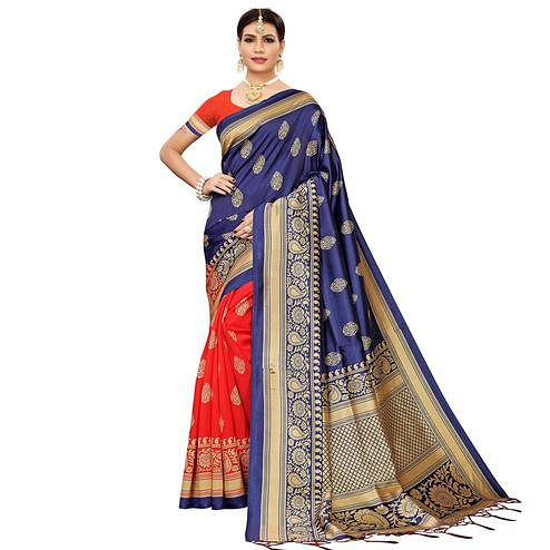 Lovely Red-Navy Blue Colored Festive Wear Banarasi Art Silk Saree