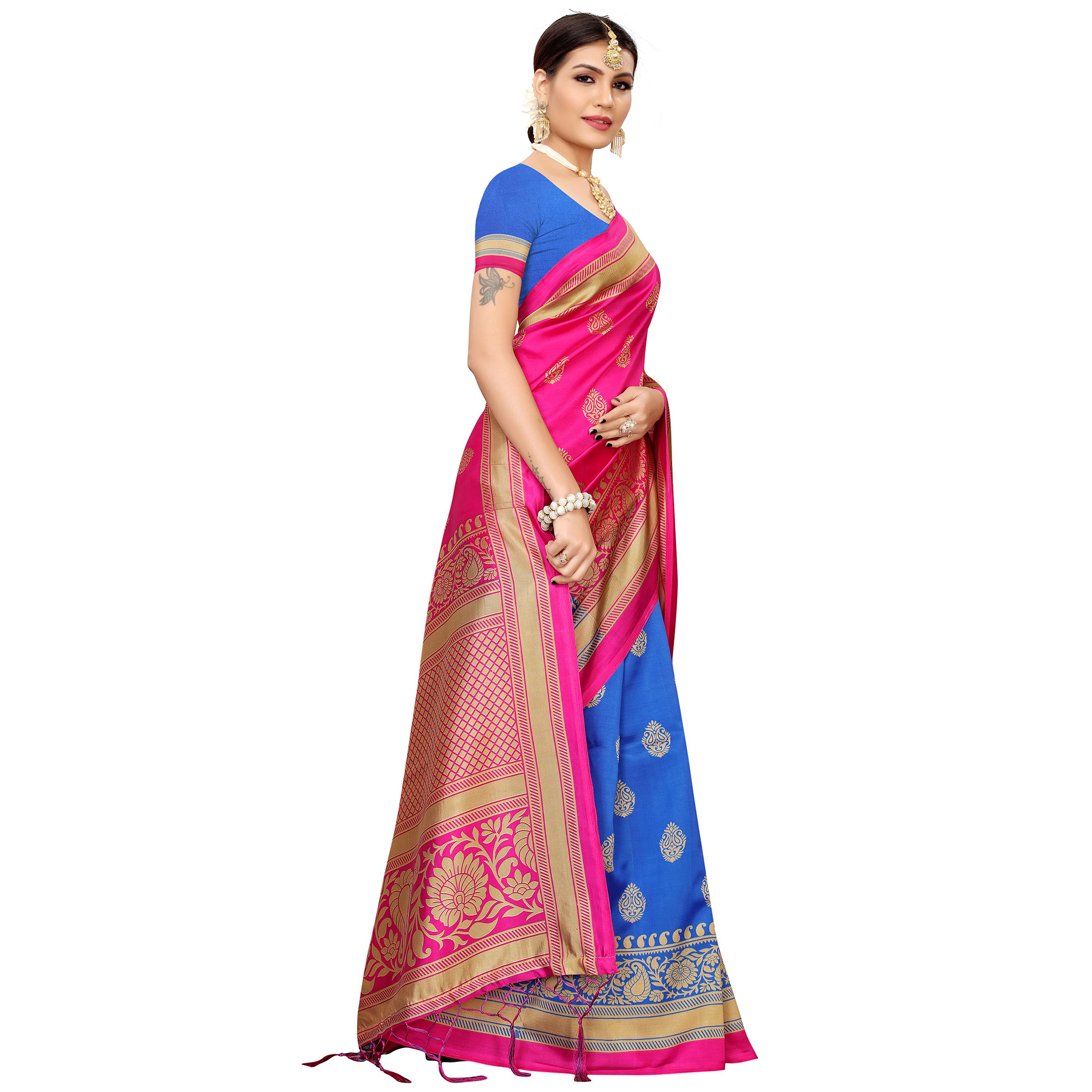 Majesty Blue-Pink Colored Festive Wear Banarasi Art Silk Saree