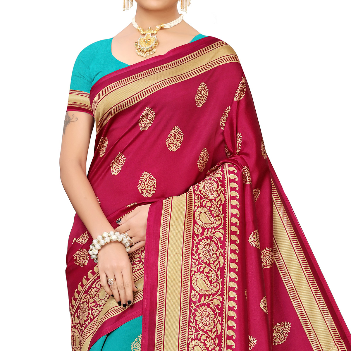 Impressive Rama Blue-Pink Colored Festive Wear Banarasi Art Silk Saree