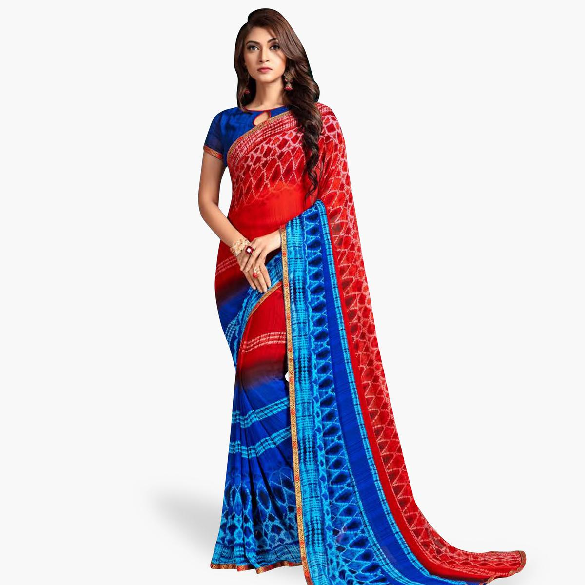 Blooming Red-Blue Colored Casual Printed Georgette Saree