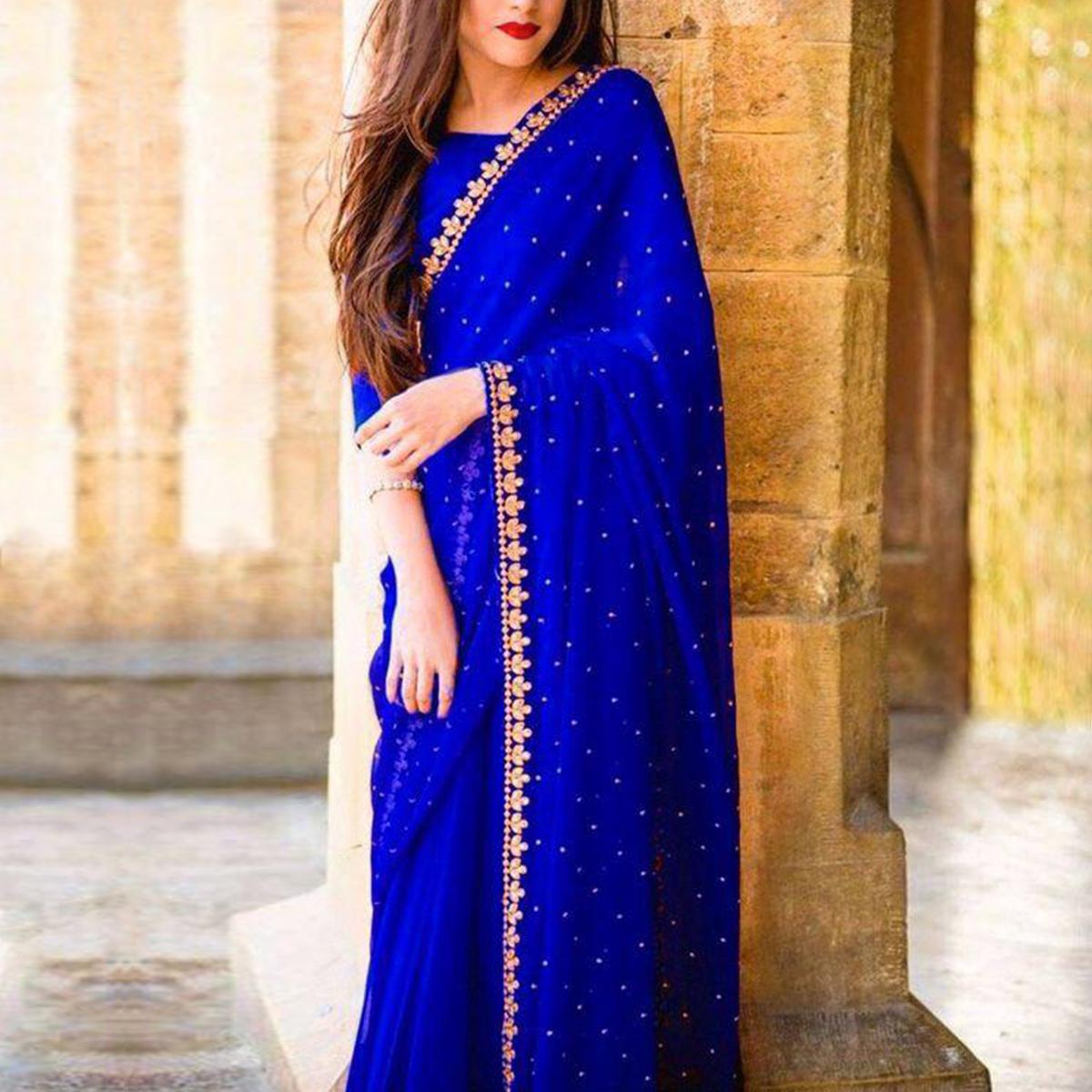 Marvellous Royal Blue Colored Partywear Embroidered Georgette Saree