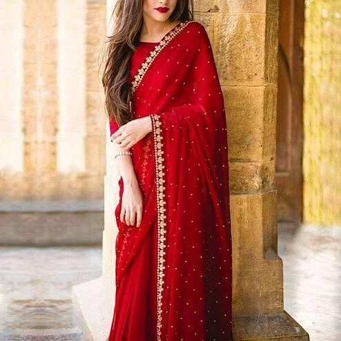 Stunning Red Colored Partywear Embroidered Georgette Saree