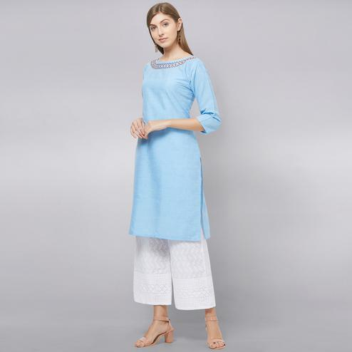 Classy Light Blue Colored Casual Wear Cotton Kurti