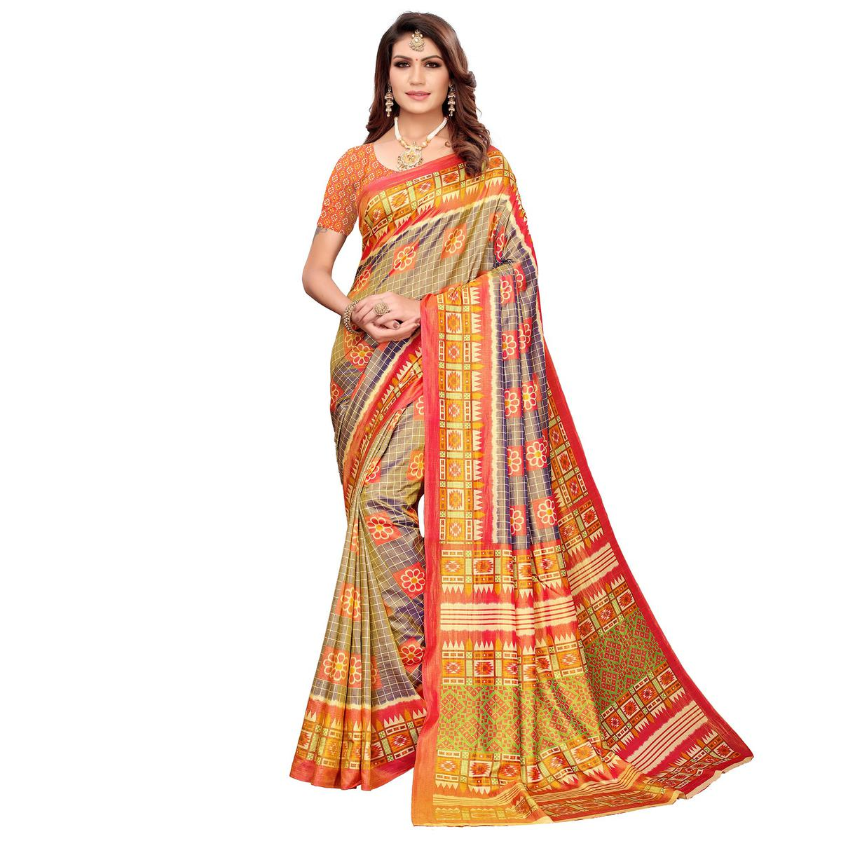 Gorgeous Gray Colored Casual Printed Art Silk Saree