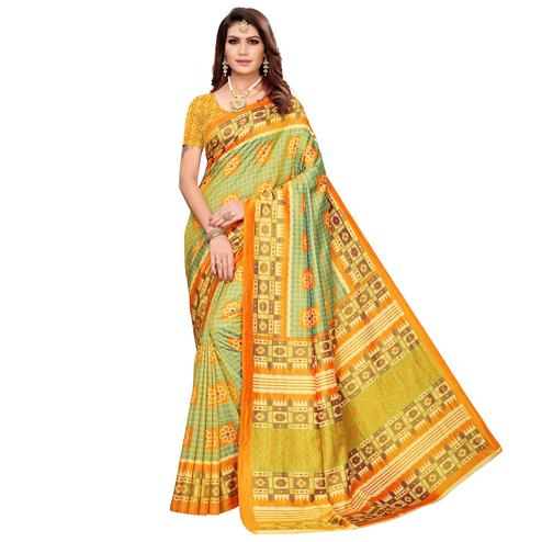 Blissful Green Colored Casual Printed Art Silk Saree
