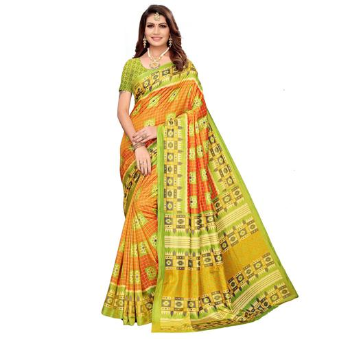 Ideal Orange Colored Casual Printed Art Silk Saree
