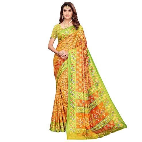 Mesmerising Orange Colored Casual Printed Art Silk Saree