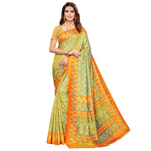 Ethnic Green Colored Casual Printed Art Silk Saree