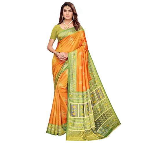 Ravishing Orange Colored Casual Printed Art Silk Saree
